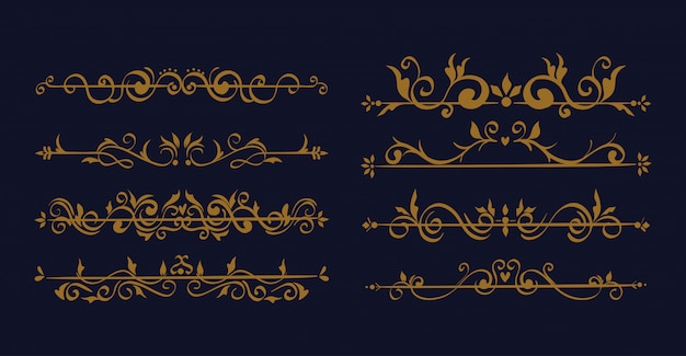 Paquete de elegantes marcos de bordes ornamentales