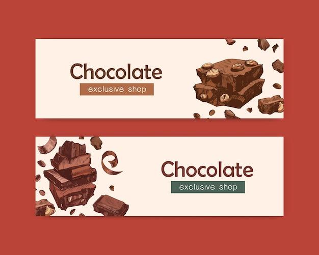 Paquete de elegantes plantillas de banner web con barras de chocolate, dulces y sabrosos postres orgánicos, deliciosos dulces naturales. ilustración de vector decorativo para publicidad de tienda, tienda o confitería.