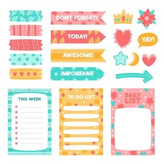 Paquete de elementos de álbum de recortes de planificador creativo