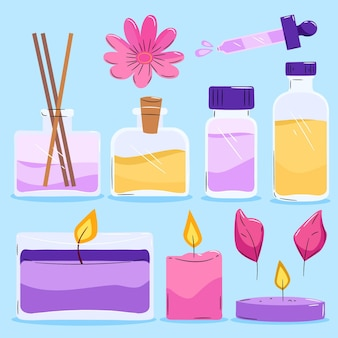 Paquete de elementos de aromaterapia dibujados a mano