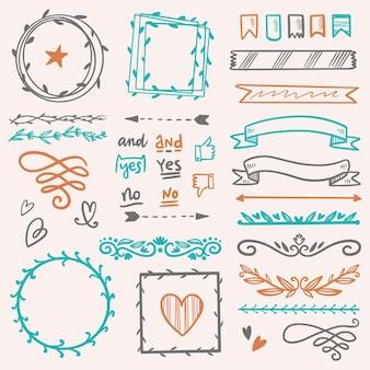 Paquete de elementos de bullet journal dibujados a mano