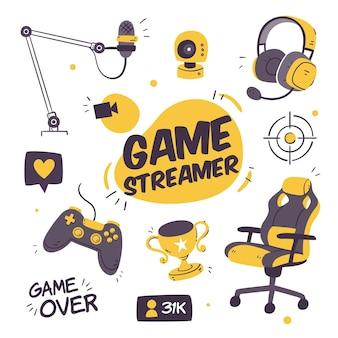 Paquete de elementos conceptuales de streamer de juegos