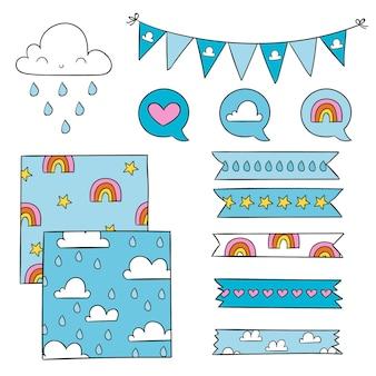 Paquete de elementos de decoración chuva de amor dibujados a mano