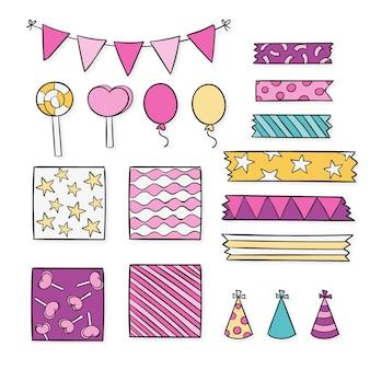 Paquete de elementos decorativos de scrapbook de cumpleaños