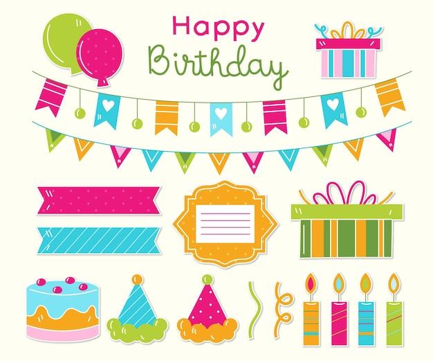 Paquete de elementos decorativos de scrapbook de diferentes cumpleaños