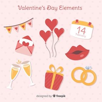 Paquete elementos día de san valentín plano