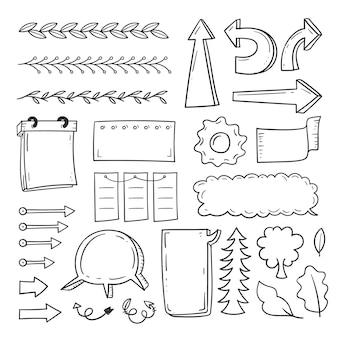 Paquete de elementos dibujados a mano para bullet journal