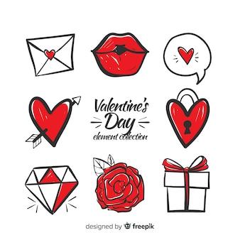 Paquete elementos dibujados a mano san valentín