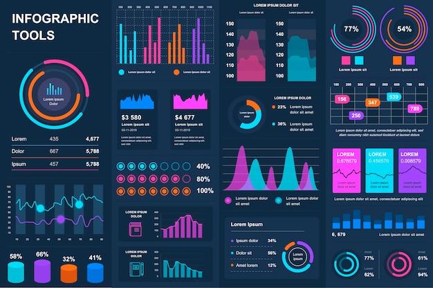 Paquete de elementos de elementos de ui ux kit de infografía
