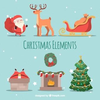 Paquete de elementos fantásticos de navidad