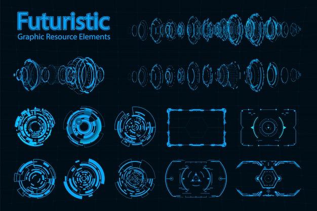 Paquete de elementos futuristas abstractos