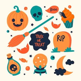 Paquete de elementos de halloween dibujados a mano