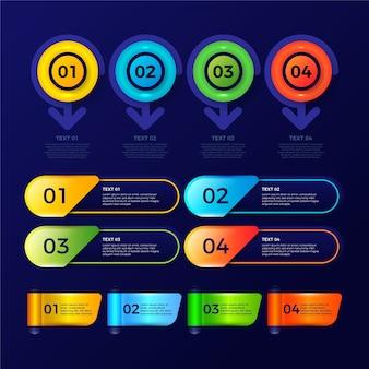 Paquete de elementos de infografía brillante realista