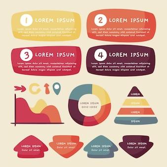 Paquete de elementos de infografía dibujados a mano