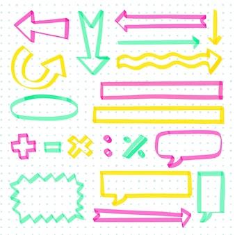 Paquete de elementos de infografía escolar colorido