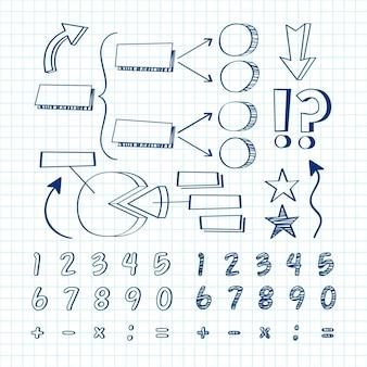 Paquete de elementos de infografía escolar dibujados a mano