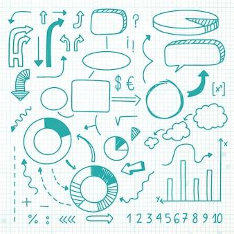 Paquete de elementos de infografía escolar dibujados