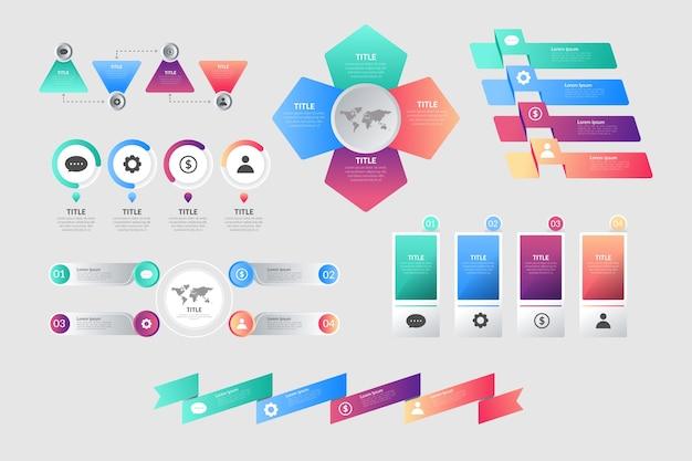 Paquete de elementos de infografía gradiente