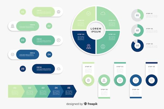 Paquete de elementos de infografía plana