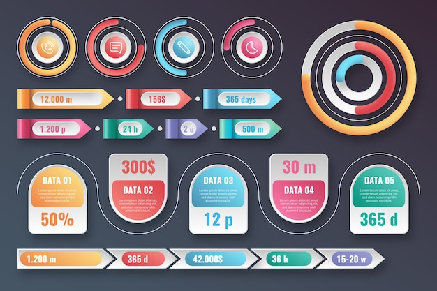 Paquete de elementos infográficos brillantes