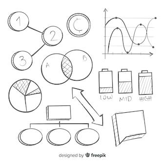 Paquete de elementos infográficos dibujados a mano