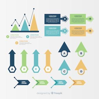 Paquete de elementos infográficos de diseño plano.