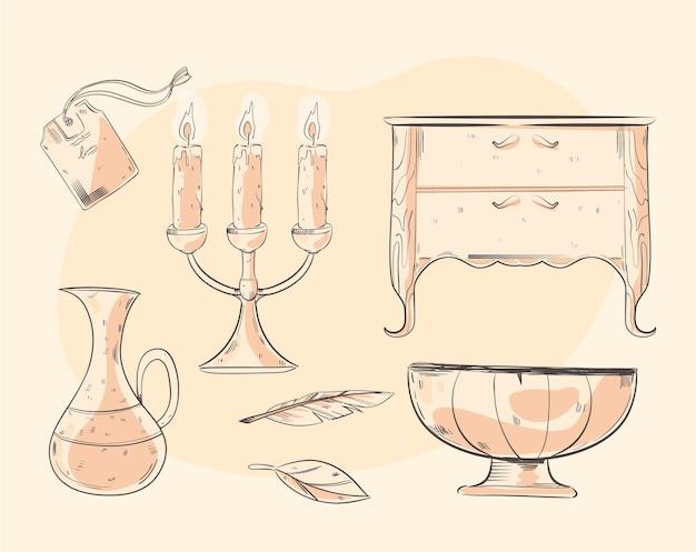 Paquete de elementos de mercado de antigüedades