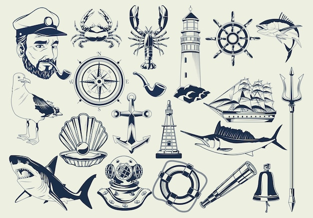 Paquete de elementos náuticos establecer iconos patrón ilustración