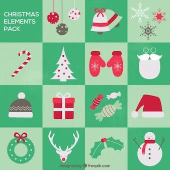 Paquete de elementos de navidad