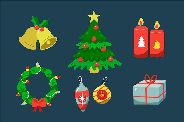 Paquete de elementos navideños dibujados a mano