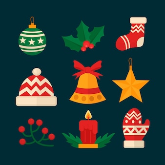 Paquete de elementos navideños de diseño plano