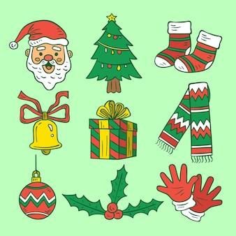 Paquete de elementos navideños de ilustraciones dibujadas a mano