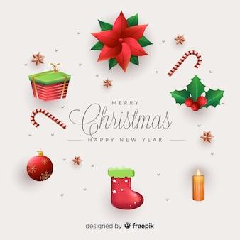 Paquete de elementos navideños realistas