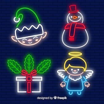 Paquete elementos neón navidad