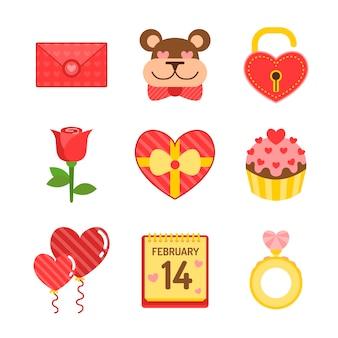 Paquete de elementos planos para el día de san valentín