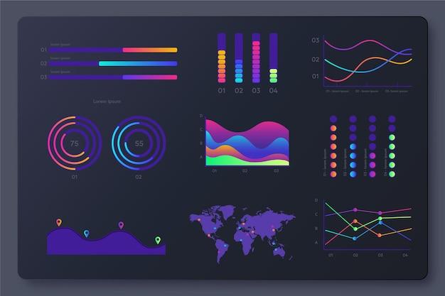 Paquete de elementos de tablero de infografía degradado