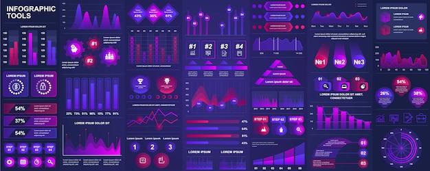 Paquete de elementos de ui, ux, kit de infografía con gráficos, diagramas, flujo de trabajo, diagrama de flujo, línea de tiempo, estadísticas en línea, plantilla de elementos de iconos de marketing. conjunto de infografías.