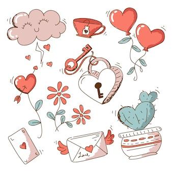 Paquete de elementos vintage para el día de san valentín