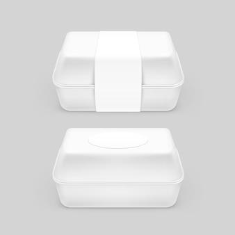 Paquete de embalaje de paquete de envase de caja de comida rápida blanca sobre fondo