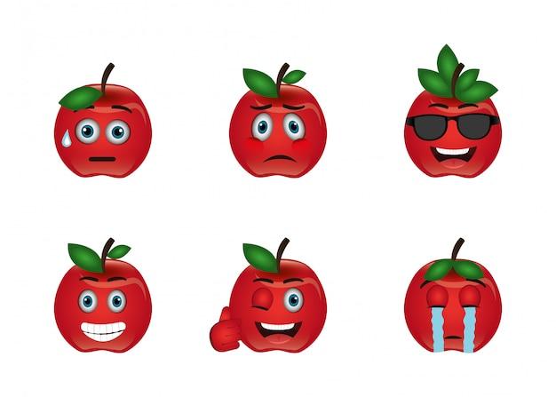 Paquete de emoticones de expresiones de manzanas