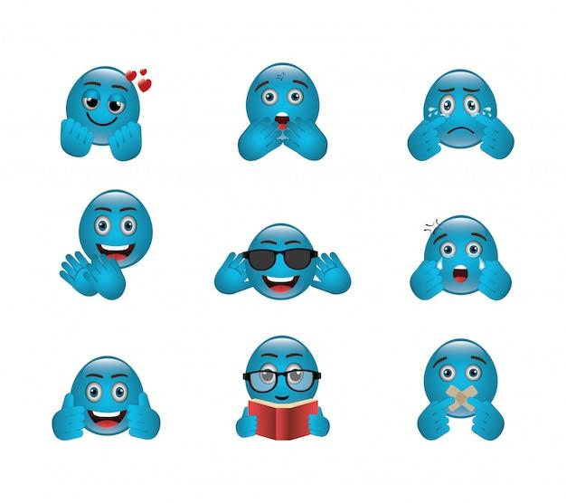 Paquete de emoticones con expresiones