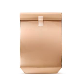 Paquete de entrega de comida rápida en blanco de cartón