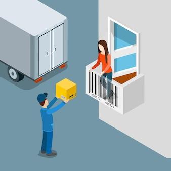 Paquete de entrega a puerta de casa plana isométrica.