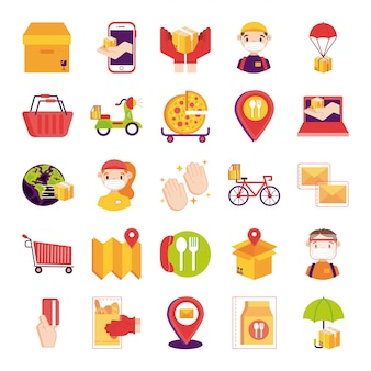 Paquete de entrega set iconos