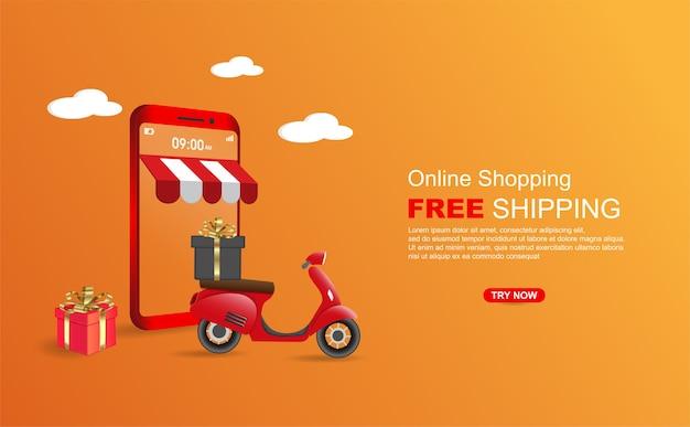 Paquete de envío gratuito de compras en línea por scooter en la plantilla de banner de teléfono móvil.