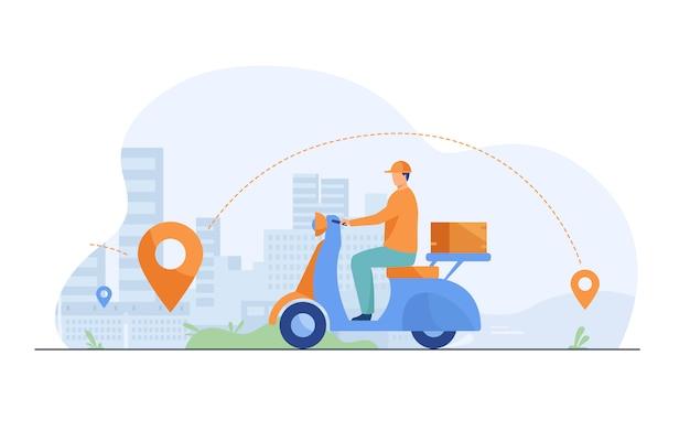 Paquete de envío de mensajería en ciclomotor ilustración plana