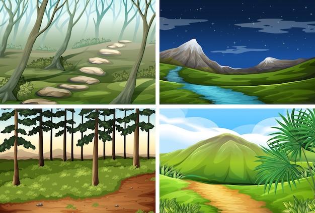 Paquete de escena de paisaje de naturaleza