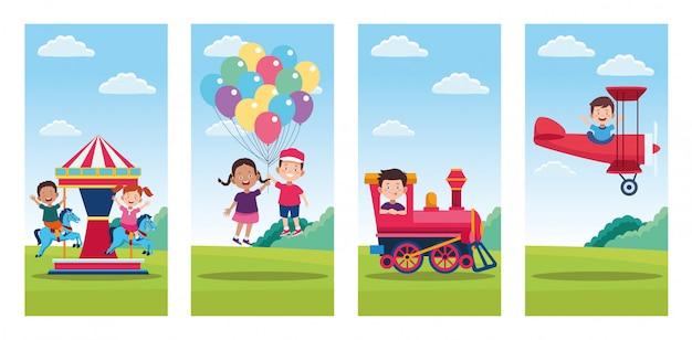 Paquete de escenas de celebración del día de los niños felices