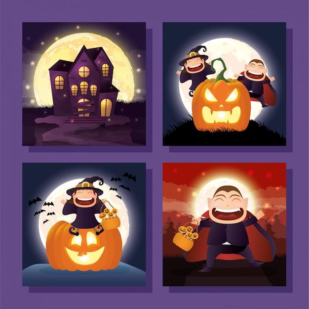 Paquete de escenas de halloween