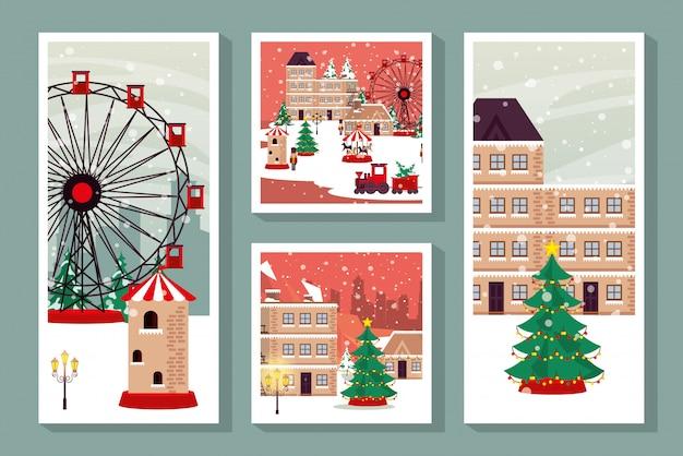 Paquete de escenas navideñas de invierno en la calle